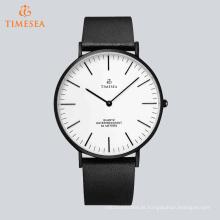 Luxo quartzo qualidade relógio de pulso com pulseira de couro genuíno 72635