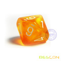 Custom Color Glitter 10-Sides Polyhedral Dice Numbered 1-10