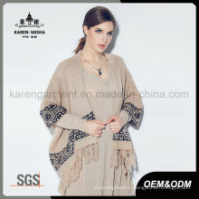 Women Tassels Trimed Hem Aztec Pattern Winter Cardigan Sweater