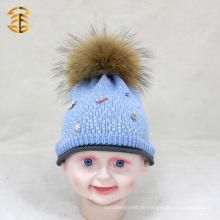 Fabrik-Preis-neueste Art- und Weisebaby-Winter-Hut mit Pelz Pom Pom