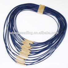 Hochwertige Mode Multi-Strang dicke Wachs Schnur Charme Halskette mit kleinen Kupfer Rohr