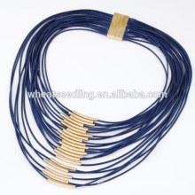Alta qualidade moda multi-strand grossa cera corda charme colar com pequeno tubo de cobre