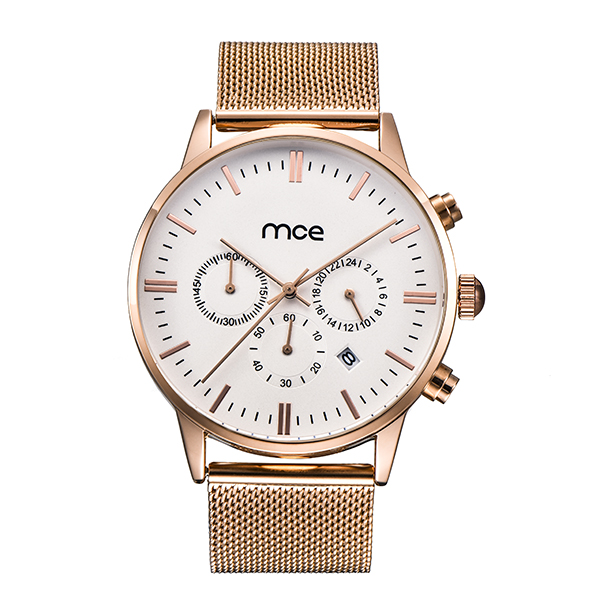 Rose gold case mesh Chronograph watch