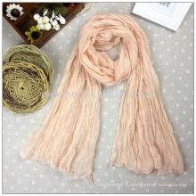 Оптовый простой крепированный бежевый шарф из полиэфира