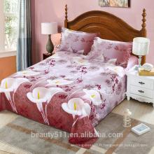 Vente en gros de draps de literie marron personnalisé textiles de maison 3d drap de couchage confortable en quatre pièces BS06