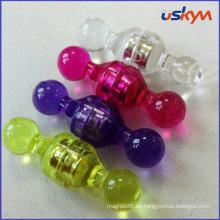 Colorido transparente plástico magnético papel titular pin Push