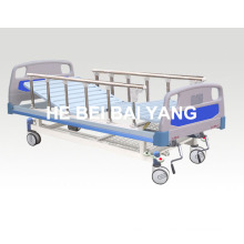 (A-51) -- Movable Double-Function Manual Hospital Bed with ABS Bed Head