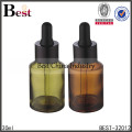 30ml cosmetic lotion red glass bottle packaging round glass container with cap sprayer dropper, silk printing service