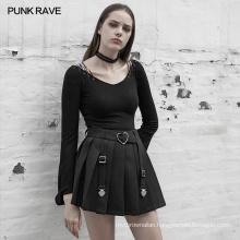 OPQ-518 PUNK RAVE Clean Color Pleated Minimalist Half Skirt Short Mini Skirt Steampunk Skirt Women 100% Cotton Adults Casual 3D