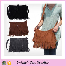 Fashion Women′s Suede Weave Tassel Shoulder Bag (54076)