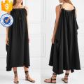 Lâche Fit Noir Coton Spaghetti Strap Maxi Robe D'été Fabrication En Gros Mode Femmes Vêtements (TA0331D)