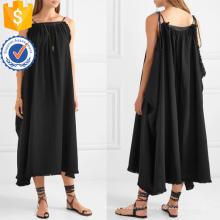 Ajuste flojo de la correa de espagueti de algodón negro Maxi vestido de verano fabricación al por mayor de prendas de vestir de las mujeres de moda (TA0331D)
