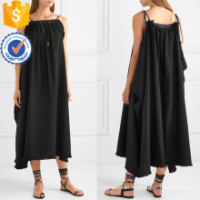 Loose Fit Black Cotton Spaghetti Strap Maxi Summer Dress Manufacture Wholesale Fashion Women Apparel (TA0331D)