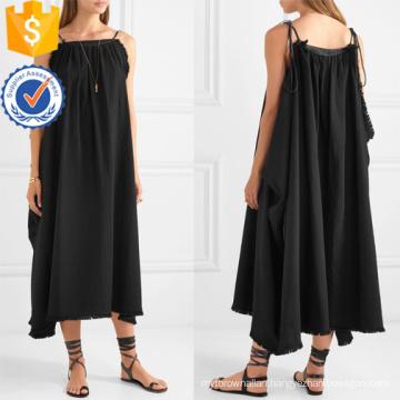 Loose Fit Black Cotton Spaghetti Strap Maxi Summer Dress Manufacture Wholesale Fashion Women Apparel (TA0331D)