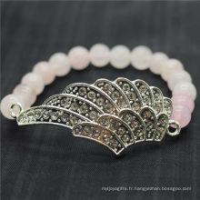 Rose Quartz 8MM Perles rondes Stretch Gemstone Bracelet avec diamante en alliage grosse pièce d'aile