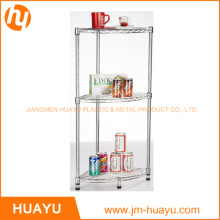 3 Tier Chrome Kitchenware Homeware Wire Storage, Bathroom Corner Rack, Corner Stand