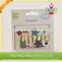 Clipe de papel decorativo china clipes por atacado clip de madeira