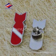 Red color rocket shaped hard enamel pin