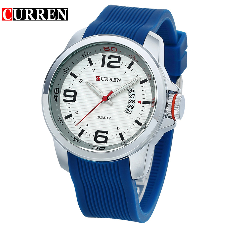 CURREN Water Resistant quartz watch Silicone Wristwatches 3