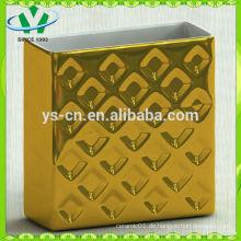 Galvanische Rechteck-Gold-Keramik-Vase