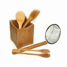 Five Pieces Bamboo Tools Set, Includes Holder, Rice Spoon, Spatula, Tong and Spider Skimmer