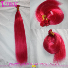 Vente en gros bon marché de qualité couleur fuchsia europe prolongements de cheveux humains bout plat