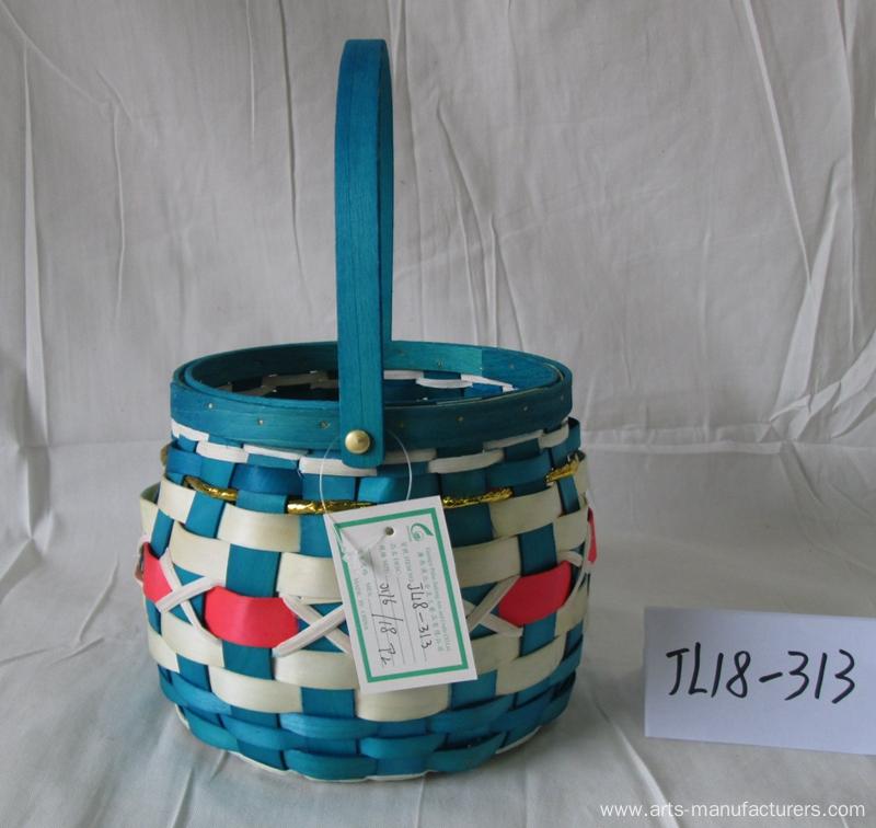 Drum-like Wood Chip Basket