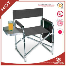 folding aluminum director chair with side table