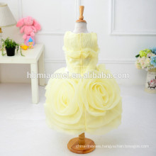 2017 big flower3D flower children girl dress O neck sleeveless colorful baby girl wedding dress with cheap price