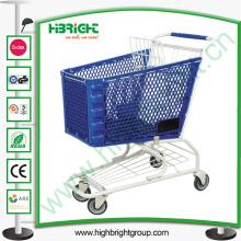 Carrito de compras de cesta de plástico con marco de metal
