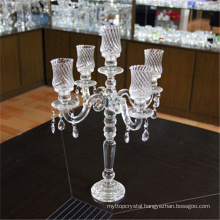 Manufacturer wholesale cheap wedding crystal candelabra with gold 5 arms