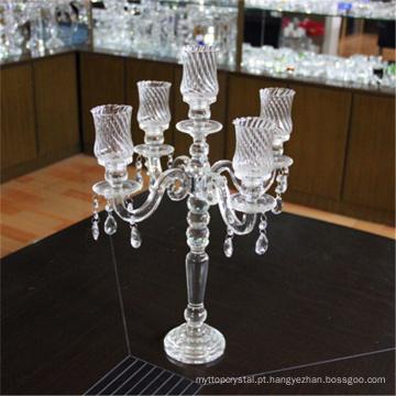 Fabricante atacado barato candelabros de cristal do casamento com ouro 5 braços
