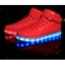 Unisexe USB charge haute coupe LED chaussures légères pour adultes
