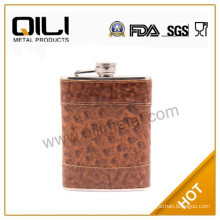 6oz leather wrapped stainless steel hip flask