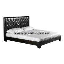 Cama de casal estilo europeu moderno couro cama tecido