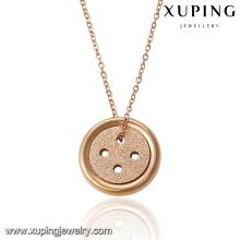 00052-18K Gold überzogene Halsketten-Entwürfe mit Knopf-Anhänger für Freundin