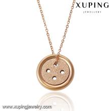 00052-18K or plaqué collier conceptions avec bouton pendentif pour petite amie