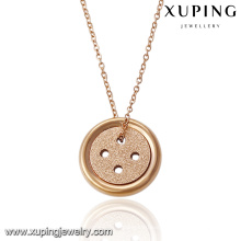 00052-18K Gold Plated Necklace Designs With Button Pendant for Girlfriend