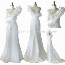 NY-1560 Um ombro dramático colar de colarinho vestido de noiva