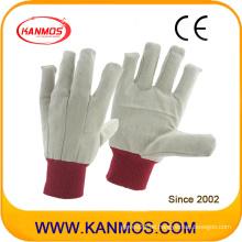 Double Palmed Red Cuff Drill Baumwolle Industrie Hand Sicherheit Arbeitshandschuhe (410012)