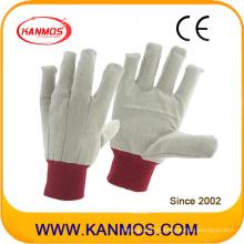 Doble palmed rojo punta taladro algodón industrial mano seguridad trabajo guantes (410012)
