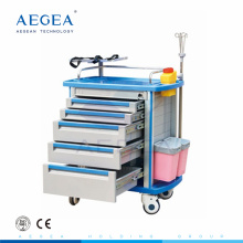 AG-ET001A1 CE ISO hospital luxurious emergency with drawers medical plastic carts