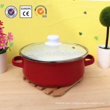 enamelware non-stick cookware with glass lid