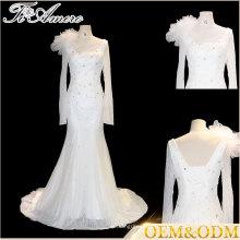 Tiamero européen arabe manches longues sirène robes de mariée en dentelle en dentelle avec fleur sur l'épaule