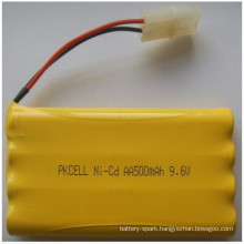 Ni-CD 9.6V AA size Battery 500mAh battery pack cell