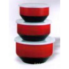 3 pcs/set red color salad bowl with s/s rim