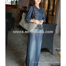 13CD1157 джинсовые тонкий Fit с длинным рукавом платье макси