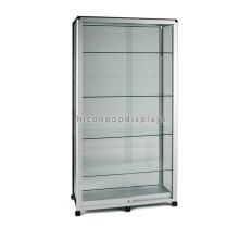 Movable venta al por mayor barata de vidrio de la puerta corredera joyería gabinetes con luces para coleccionables
