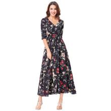 Kate Kasin Sexy Motif floral à manches longues à manches courtes Cravate à cravate Split Maxi Dress KK000652-1