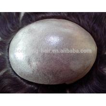 100% человеческих волос индийский Реми тонкая кожа мужской парик